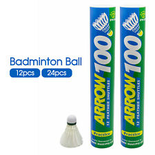 12/24pc Durable Sport Duck Feather Shuttlecocks Badminton Ball Arrow 100 Shuttle