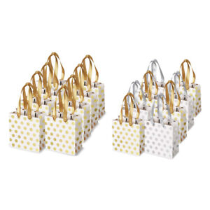 Small Gift Bags with Ribbon Handles Gold Mini Gift Bag,for Birtay Wedding W2X8