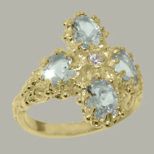 18ct 750 Yellow Gold Cubic Zirconia & Aquamarine Womens Cluster Ring