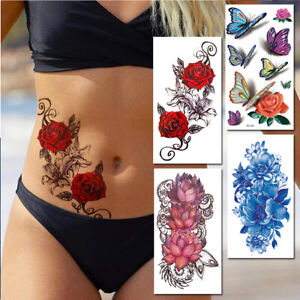 Lady Temporary Tattoo Large Red Pink Roses 3D Butterfly Body Art Fake Waterproof
