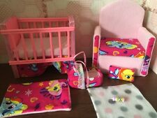 Barbie baby Nursery Set Furniture ,crib ,sofa ,carrier. My Little Pony