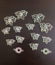 Lot Of Pink & Blue Rhinestone Silver FlowEr Pendants Jewelry Making Crafts