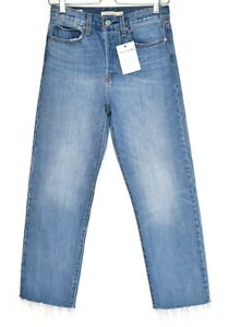 Womens Levis WEDGIE STRAIGHT High Rise PREMIUM Blue Cropped Jeans Size 8 W27 L26