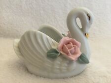 Small ceramic swan Rose ornament for trinkets or flower pot