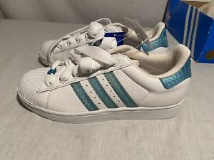 Adidas Superstar HLT Lifestyle Shoes Size 9 White Teal Blue 021221 Shell Toe
