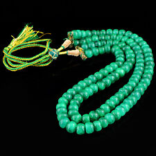 715.50 CTS EARTH MINED 2 STRAND RICH GREEN EMERALD ROUND SHAPE BEADS NECKLACE