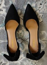 Bamboo black suede mid high slip on heels with bow on back women's 9 US/39 EURO