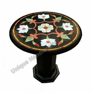 Marble Black Round Cafeteria Side Table Top Pietradura Inlaid Art Wedding Gifts
