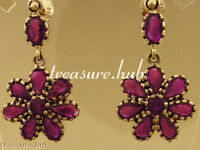 CE127 Genuine 9K Yellow Gold Natural Ruby Blossom Vintage DROP Earrings