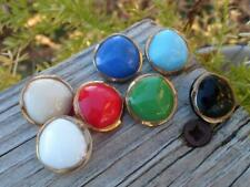 Vintage 1940's West German Glass Buttons from Sample Card Gold Trim Multi Color