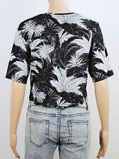TopShop womens Size 6 grey black floral crop t shirt top