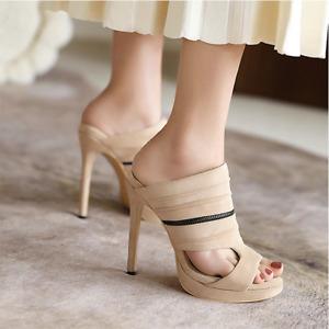 WomensSuper High Heel Suede Open Toe Platform Slippers Clubwear Sandals Fashion