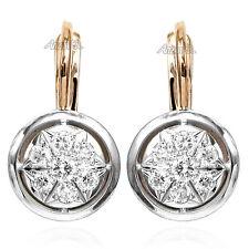 Russian style Yellow Gold Diamond Earrings 585 Серьги из русского золота 585º