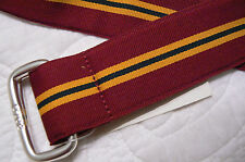 RALPH LAUREN MEN'S BELT BURGUNDY STRIPED  CLOTH SIZE SMALL RETAIL-$45 NWT