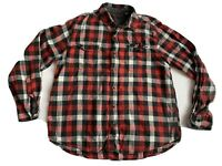 Woolrich Mens XL Flannel Shirt Red Black White Plaid Button Front Long Sleeve