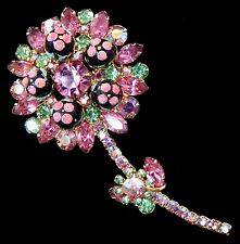 PRETTY Vintage JULIANA Pink Green Rhinestone Flower Figural Pin BOOK PIECE