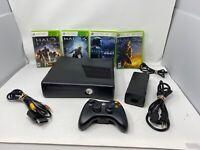 Microsoft Xbox 360 S Slim 250GB Black Console w/Cables, Controller, 4 Halo games