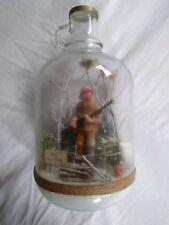 "Cute Handcrafted Grumpy Grandpa Hunter w/Rifle In Woods In Vtg Glass Bottle 11"""