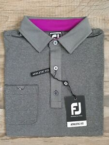 NEW FootJoy Mens Lisle Solid w/ Pinstripe Golf Polo Medium Heather Black 26555