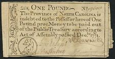 North Carolina Colonial Currency One Pound Note - Rare - Dec 1771 Bt2767