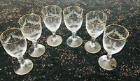 CZECH CRYSTAL 6 WINE GLASSES WiTH ENGRAVED ANTIQUE DESIGN AND GOLD TRIM 5""
