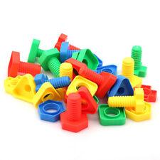 30x Kids Screw Building Blocks Insert Blocks Nut Shape Educational Gift Toys N7