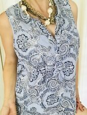 KENAR WOMENS BLOUSE PRINTED FLORAL SLEEVELESS LINEN RAYON BLUE BLACK SZ XL