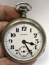 Vintage Pierce Co Swiss Made Open Face Pocket Watch 17 Jewels RUNNING
