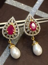 5.93 Cts Round Brilliant Cut Diamonds Ruby Pearl Stud Earrings In Solid 14K Gold