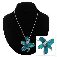 Turquoise Color 3-D Orchid Flower Enamel Silver Tone Pendant Necklace