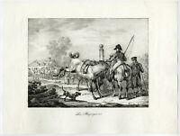 Antique Master Print-LANDSCAPE-HORSE DEALERS-Swebach-Desfontaines-1821