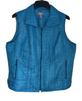 Chico's 3 (XL 16) Teal Quilted Full Zip Quilted EC # J009
