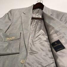 Brooks Brothers 1818 Light Blue Silk Wool Plaid Windowpane Jacket Blazer 39R