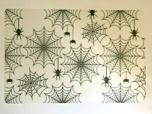 """Halloween Placemats Clear Vinyl Spider Web Gothic 17.5"""" x 12""""  Set of 4 Scary"""