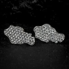 Men's Zig Zag Set 925 Sterling Silver Hip Hop Fully Iced Nugget Stud Earrings