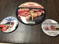Davey Allison Darrell Waltrip Morgan Shepherd Nascar Collector Buttons Lot Of 3