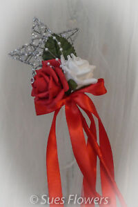 Bridesmaids Wand in Bright red and Ivory wedding flowers flower girl