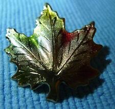 Vintage Estate Gold Tone Green Gold Red Leaf Pin Brooch