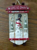 Let It Snow Sled Snowman Christmas Tree Ornament Holiday Decoration