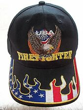 Firefighter Hat USA Patriotic Trucker Cap Eagle Stars Flames Man Cave Decor Gift