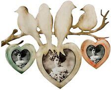 Vintage Shabby Chic 3 Trio Multi Photo Frames Wooden Birds Love Heart Tree