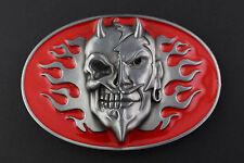 EVIL SKELETON & DEMON DEVIL RED BELT BUCKLE METAL TWO FACE FLAMES