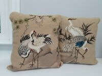 "Chinese Cranes Needlepoint Pillows Wool Velvet 15""  x 14"" Beige Set of 2 Herons"