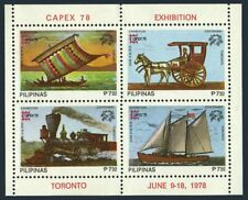 Philippines 1350,1350e sheets,MNH.Mi Bl.12A-12B. CAPEX-1978,Ships,Locomotive,