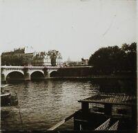 Francia París El Puente Nuevo La Seine c1910 Foto Estéreo Placa - Cristal VR11za