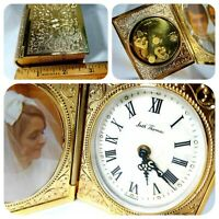Seth Thomas Key Wound Picture Book Mother Pearl Alarm Clock Gold Plated