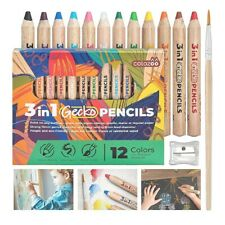 Woody 3-in-1 Thick Colour Pencil Set of 12 + brush, sharpener Crayon Watercolour