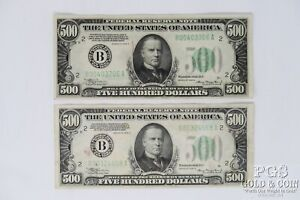 2 1934-A $500 FRN B00403706A B00324668A 2 US Currency Notes $1000 21329
