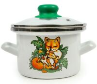 1.6 qt White Enameled Steel Stockpot with Lid. Durable Enamelware with Fox Print