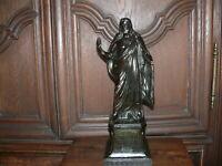 Prunkvolle  über 100 Jahre alte Jesusfigur massiv Zinkguß Bronzeeffekt ca. 3,5kg
